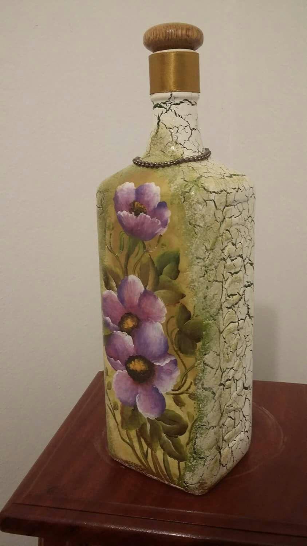 Pin de tina scheffer en garrafas pinterest botellas decoradas frascos y vidrio - Botellas de cristal decoradas ...