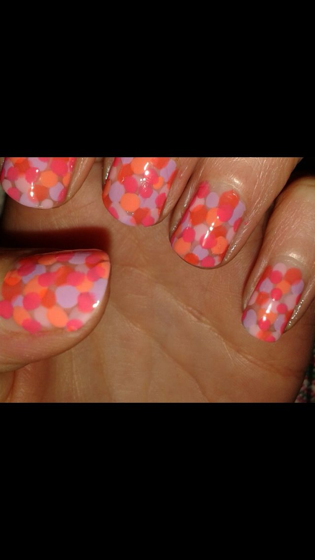 Bright coral, pink, orange and purple spotty / dotty nails