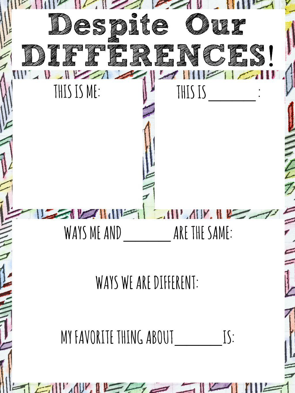 Despite Our Differences Diversity Worksheet For Kids