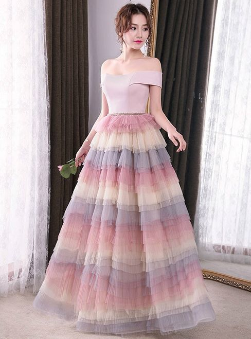 In Stock:Ship in 48 hours Off The Shoulder Tulle Prom Dress | Tulle ...