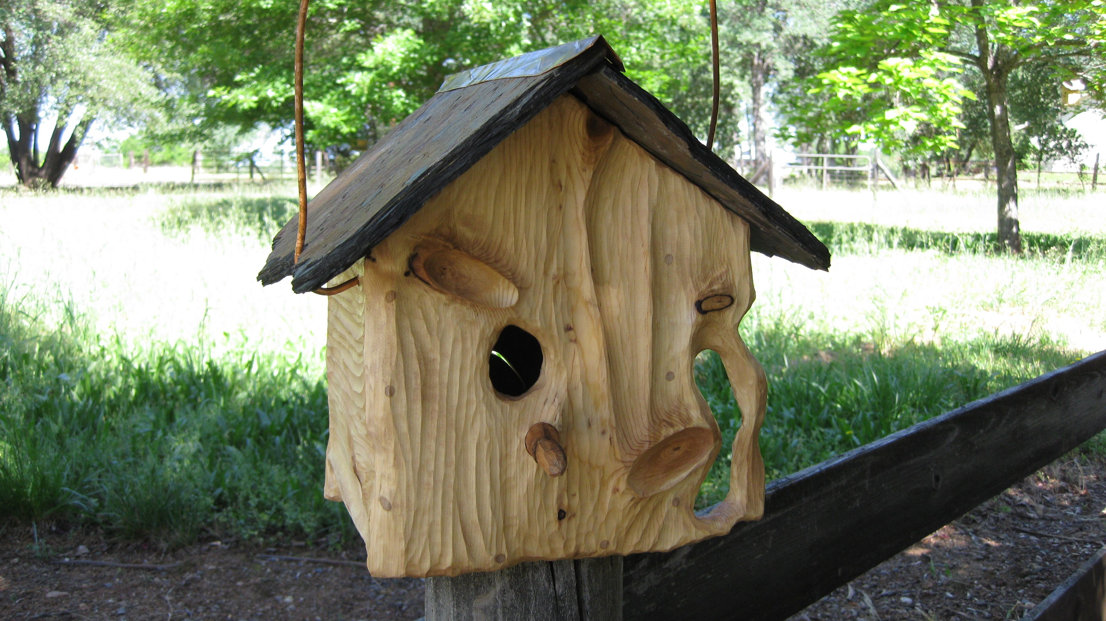 This Is A Beautiful Unique And Rustic One Of A Kind Hand Crafted Birdhouse It Is Sculpted Pine With A Slate Roof And Bird Houses Bird House Kits Bird House