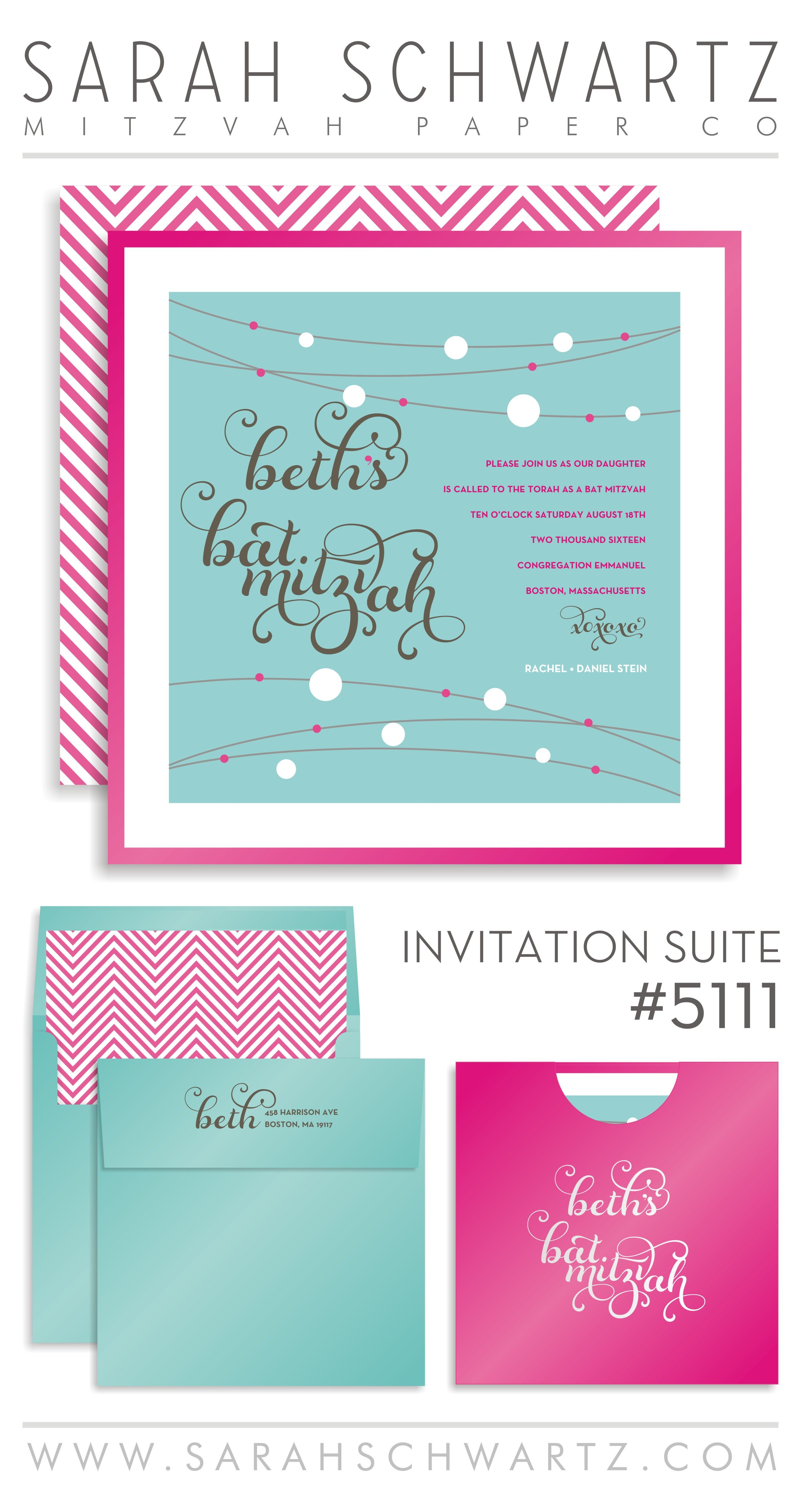 Modern pink and turquoise Bat Mitzvah invitation suite with tweed ...