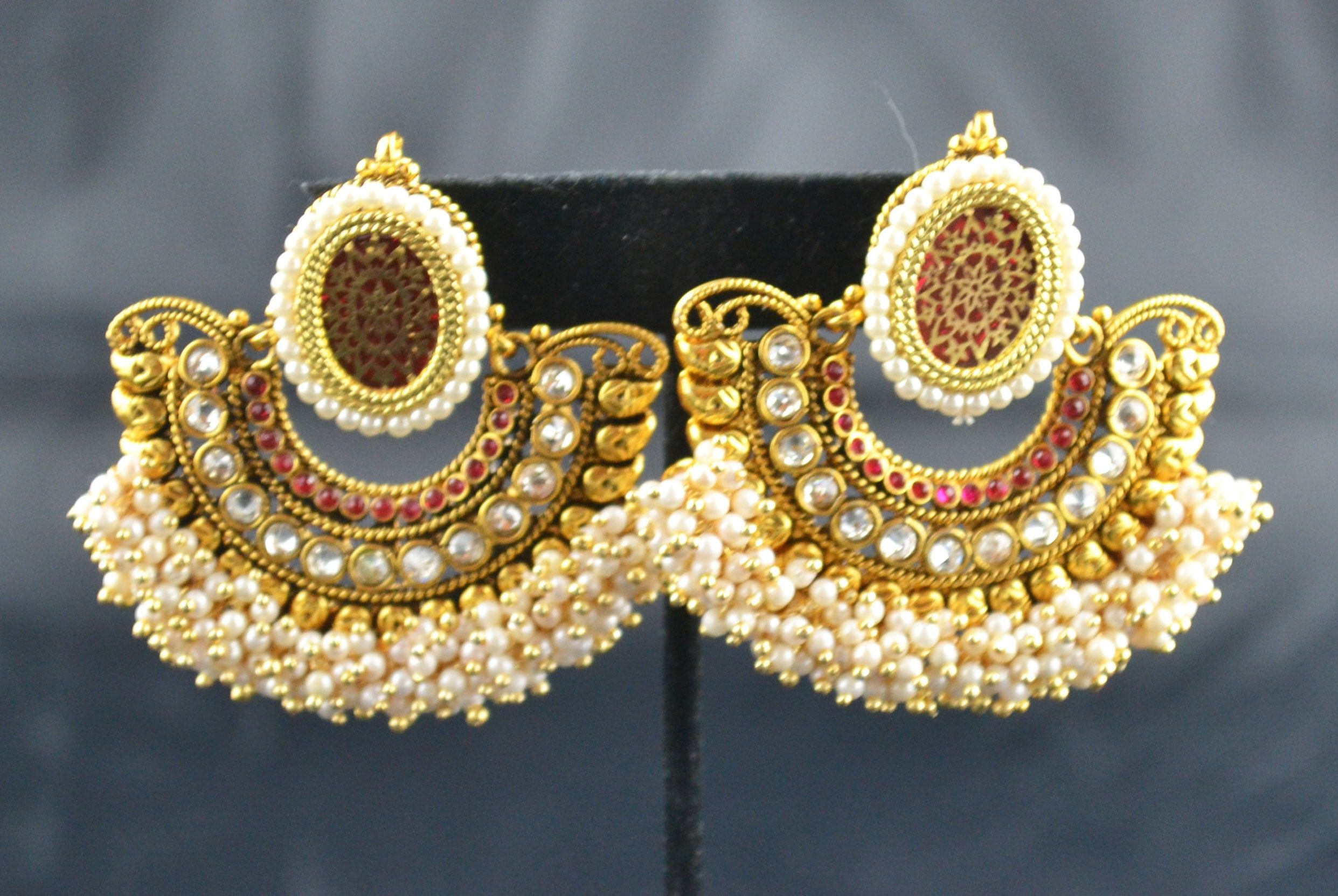 Indian Jewelry Store   Swasam.com: Red Designer earring With Pearl ...