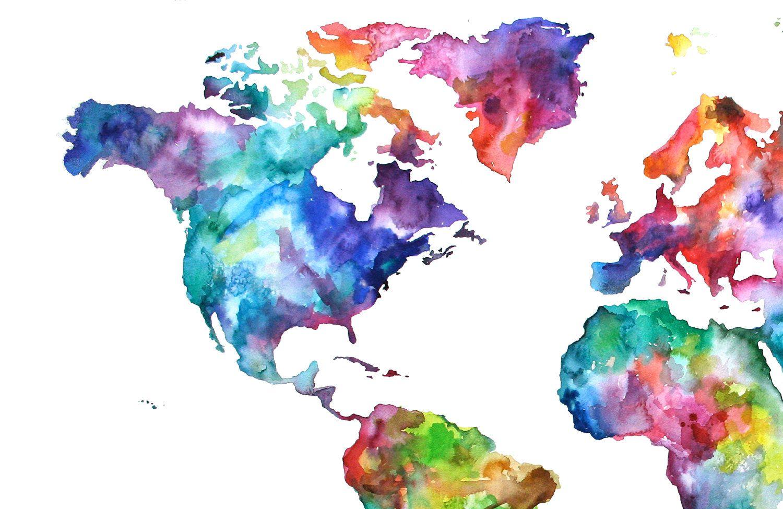 20x30 Watercolor Map Print World Map Watercolor Painting 95 00