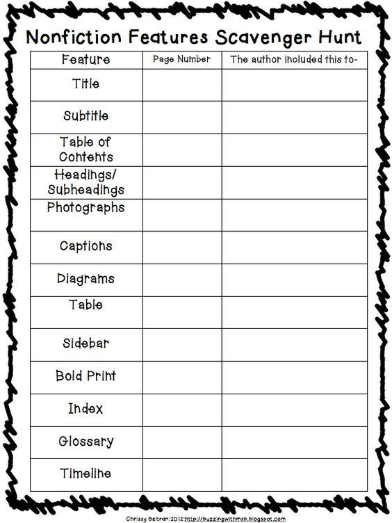 Nonfiction Features Scavenger Hunt. Take your students on a ...