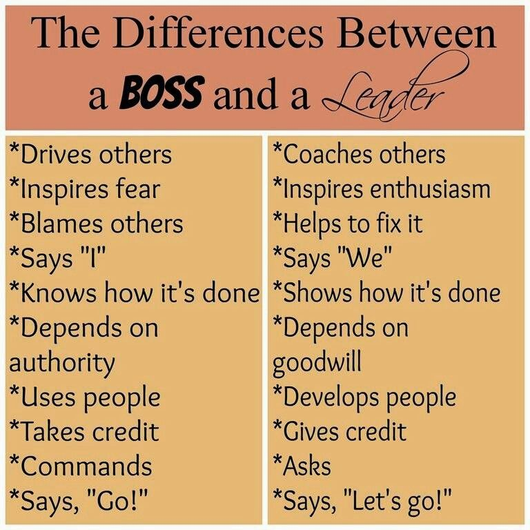 Boss vs leader  Life Quotes  Pinterest  Business