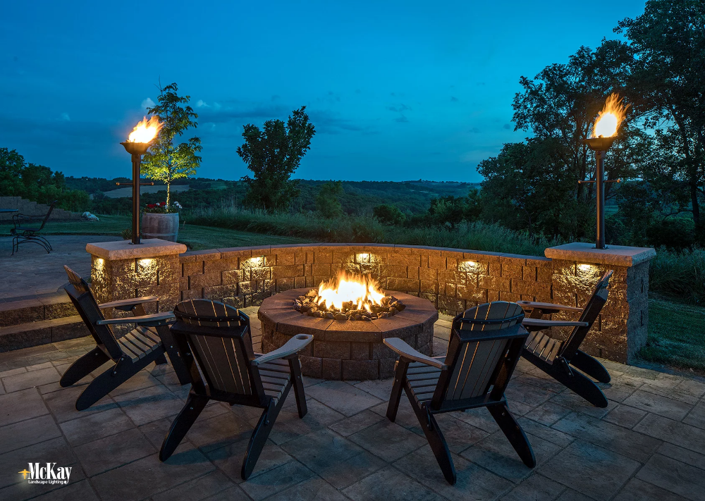 Fire Pit Seat Wall Lighting By Mckay Landscape Lighting Omaha Nebraska Outdoor Fire Pit Fire Pit Area Outdoor Fire