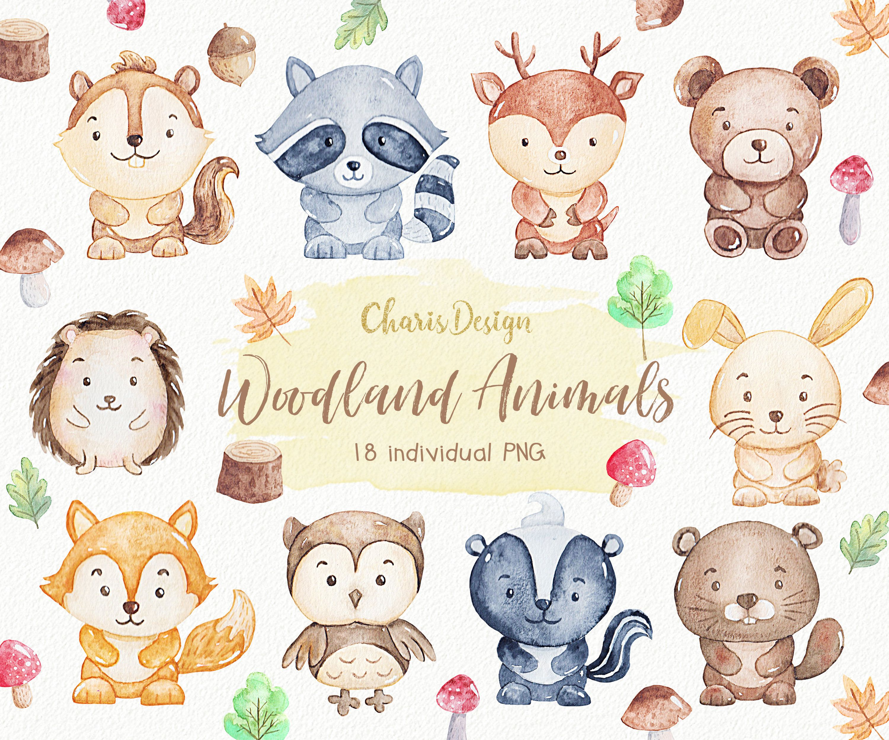 Woodland Animals watercolor clipart nursery forest cute