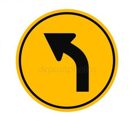 Left Curve Ahead Traffic Sign Vector Illustration  Stock Vector