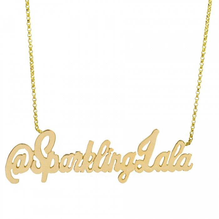 Love this twitter or instagram handle personalized necklace my 14k gold personalized name plate necklace aloadofball Images