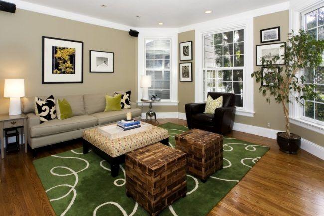 Taupe Wandfarbe Wohnzimmer Holzboden Gruener Teppich