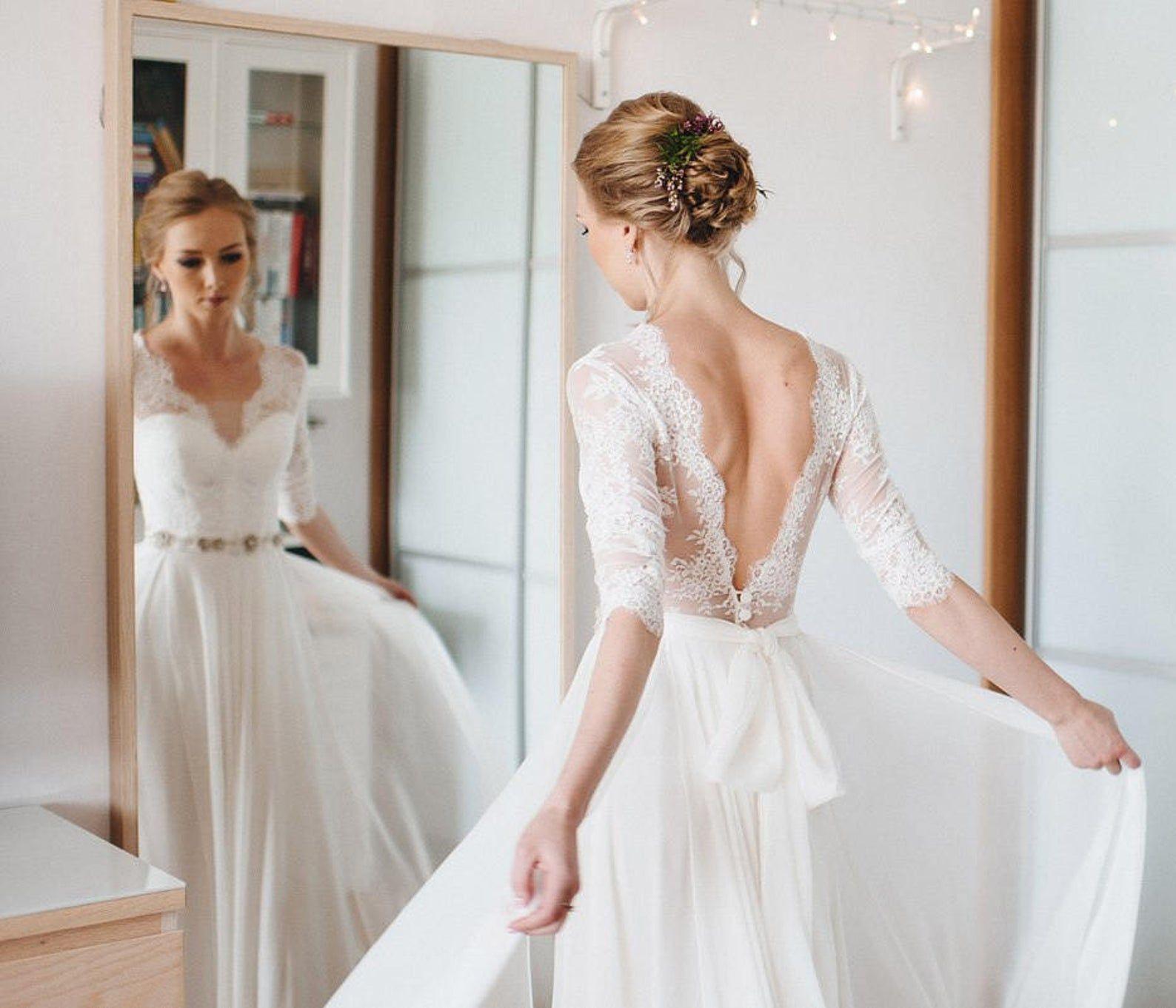 A Line Wedding Dress A Line Style Simple Wedding Dress Etsy In 2020 Elegant Wedding Dress Etsy Wedding Dress Wedding Dresses Simple