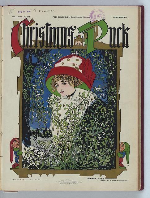 Christmas Puck Gordon Ross 1910 Beautiful Woman Standing Among Mistletoe Snow | eBay