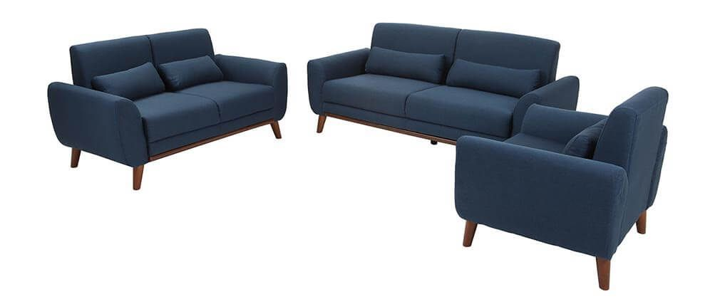 Canapé design 3 places tissu bleu pieds noyer EKTOR