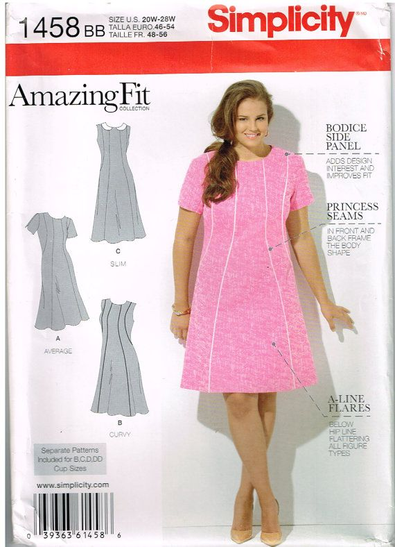 Simplicity 1458 Women S Dress By Amazing Fit Size 20w 22w 24w