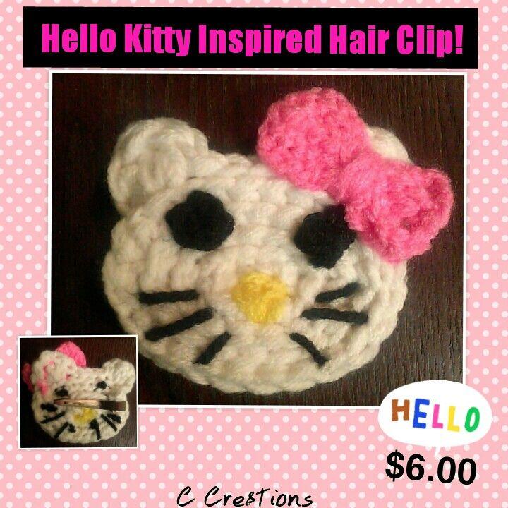 Crocheted Hello Kitty Inspired Hair Clip. \