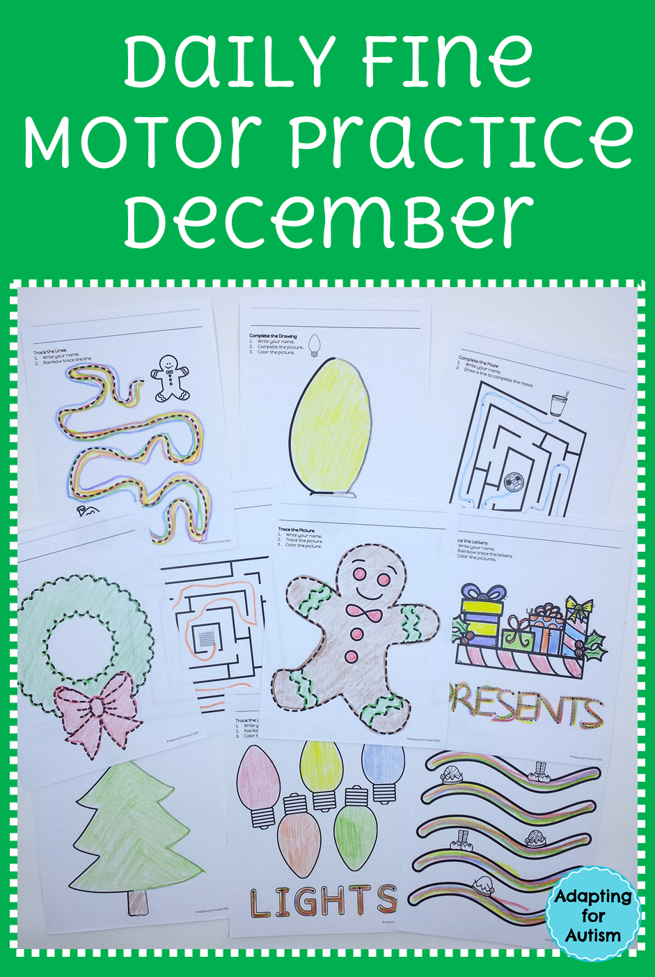 christmas fine motor worksheets for special education and autism occupational therapy ideas. Black Bedroom Furniture Sets. Home Design Ideas