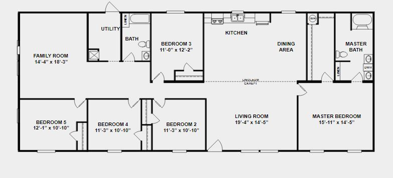 Double Wide Home With 5 Bedrooms 99k Mobile Home Floor Plans Double Wide Home House Floor Plans