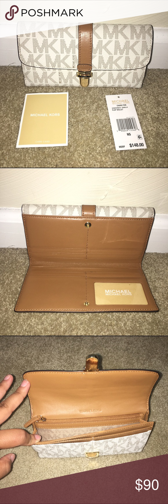 aa42bf08cae622 Michael Kors Charlton Flap Wallet in Vanilla Michael Kors Charlton Flap  Wallet in Vanilla with Gold