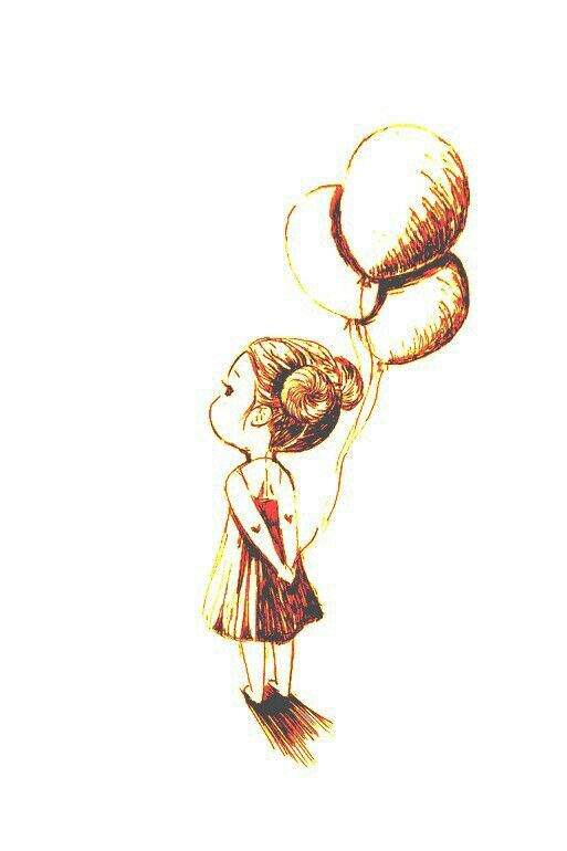 Design Little Girl Holding Balloons Black Ink Meaning Balloons