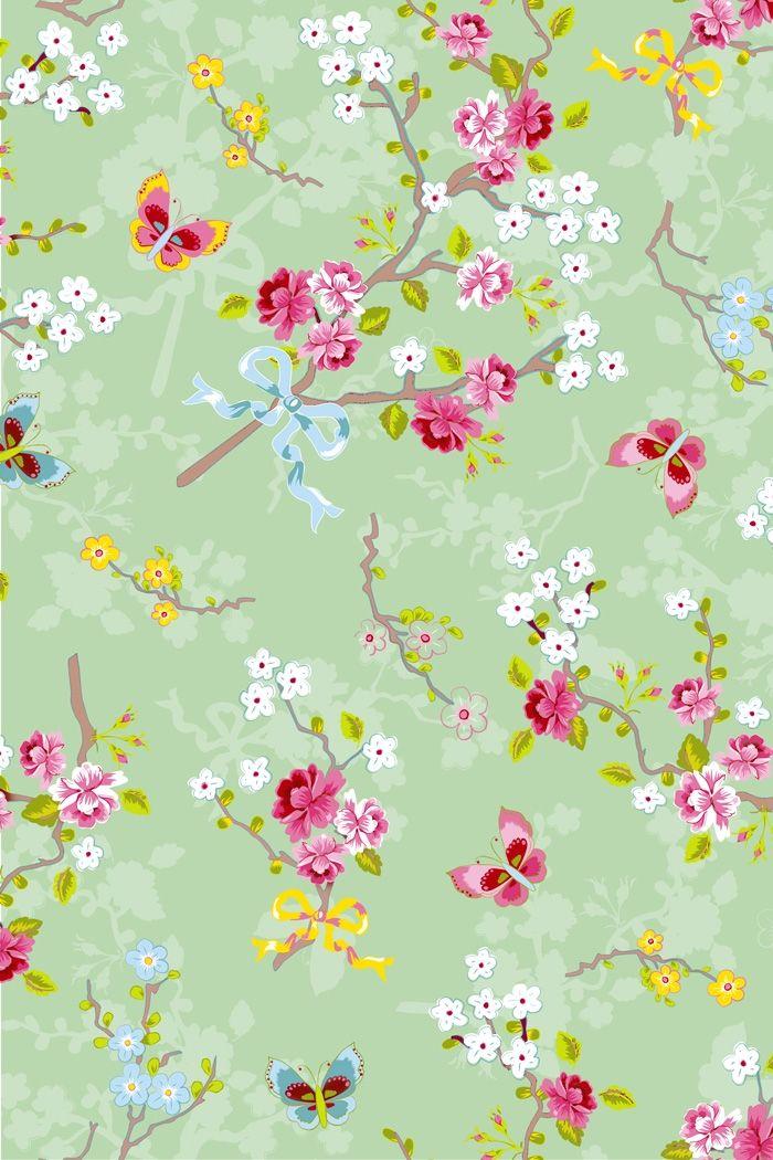 Pip Studio Behang - Chinese Rose Green- Groen behang met een patroon van vlindertjes, strikjes en bloemen - Per rol 10 meter - Breedte baan behang 53 cm - Materiaal Smartpaper
