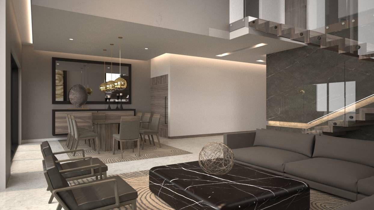 Fotos de salas de estilo moderno sala comedor y escalera for Salas minimalistas modernas