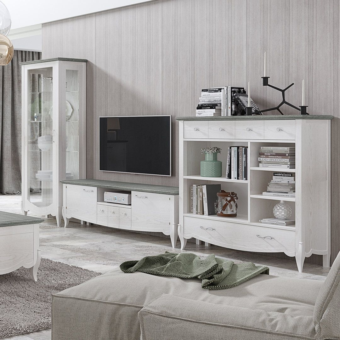 Mueble Blanco Sal N Cl Sico Mueble Para Tv Y Vitrinas 270x192x40  # Muebles Max Descuento Alfafar
