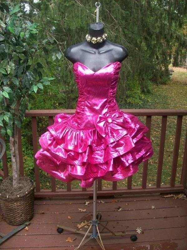 Vintage 80s liquid metallic pink rockstar prom party dress ...
