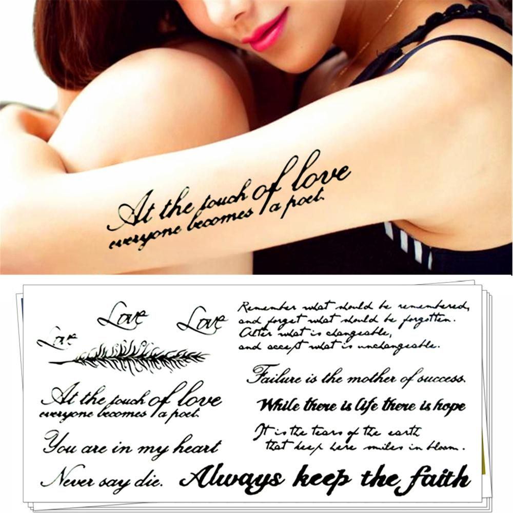 Fashion Words Tattoos Stickers Water Transfer Temporary Body Art