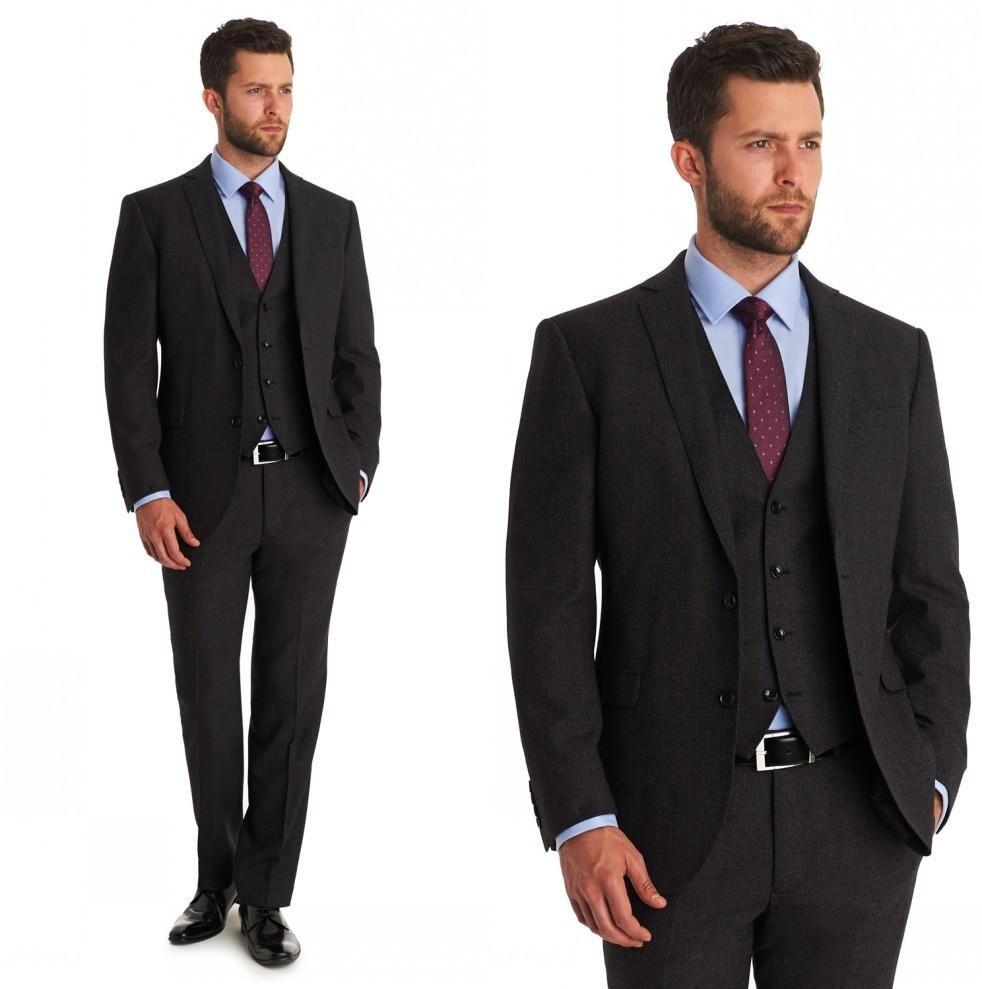Groom Tuxedos Groomsmen Suits Custom Made Dark Grey Wedding ...