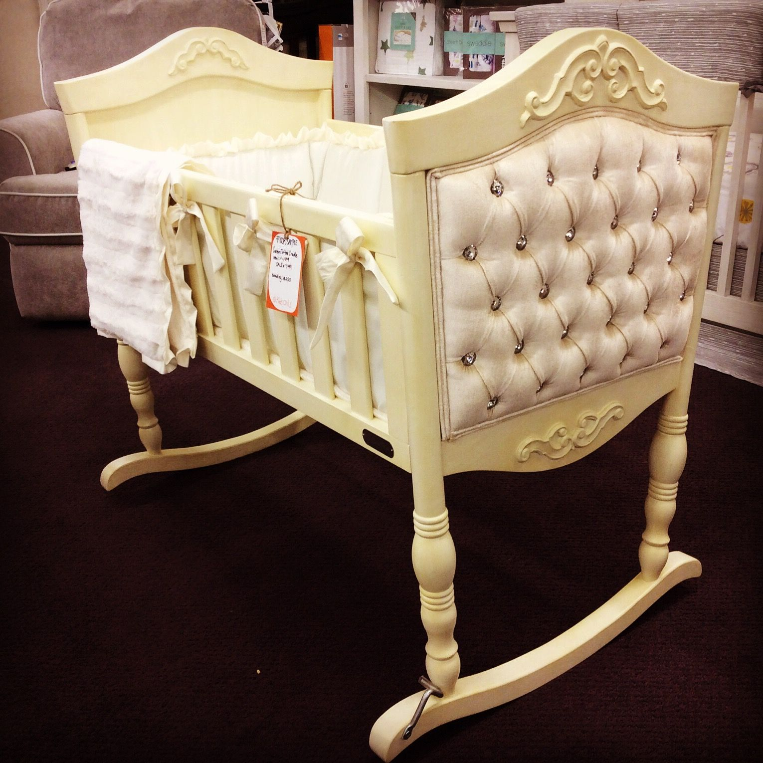 cradle solid in cribs antique tufted beautiful baby with crib custom white construction wood pin crystals made using