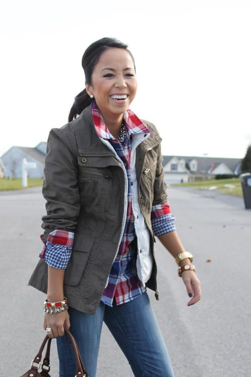 944b22ec865 Plaid shirt layered with a vest and jacket, goes great with jeans. Love  this look