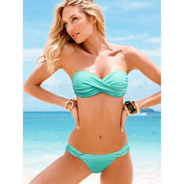 Ruched Halter Strapless Bandeau Top Bottom Bikini Swimwear Swimsuit Black