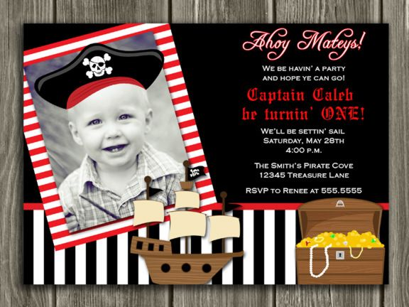 Printable Birthday Invitations For Boy ~ Printable pirate birthday invitation pirate hat pirate ship