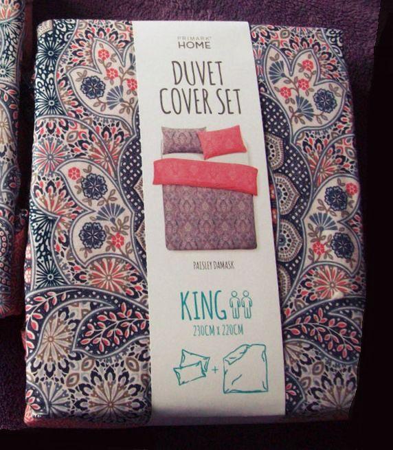 Primark Blue Pink Yellow Paisley Print Double Size Duvet Cover Bedding Set Fresh