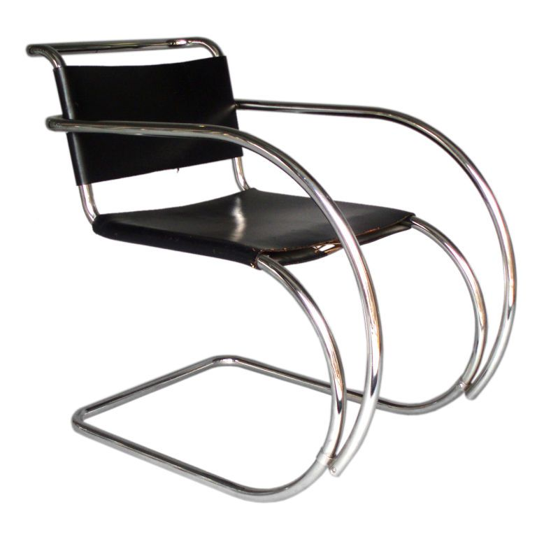 Stainless Frame Leather Sling Mr Lounge Chair Mies Van Der