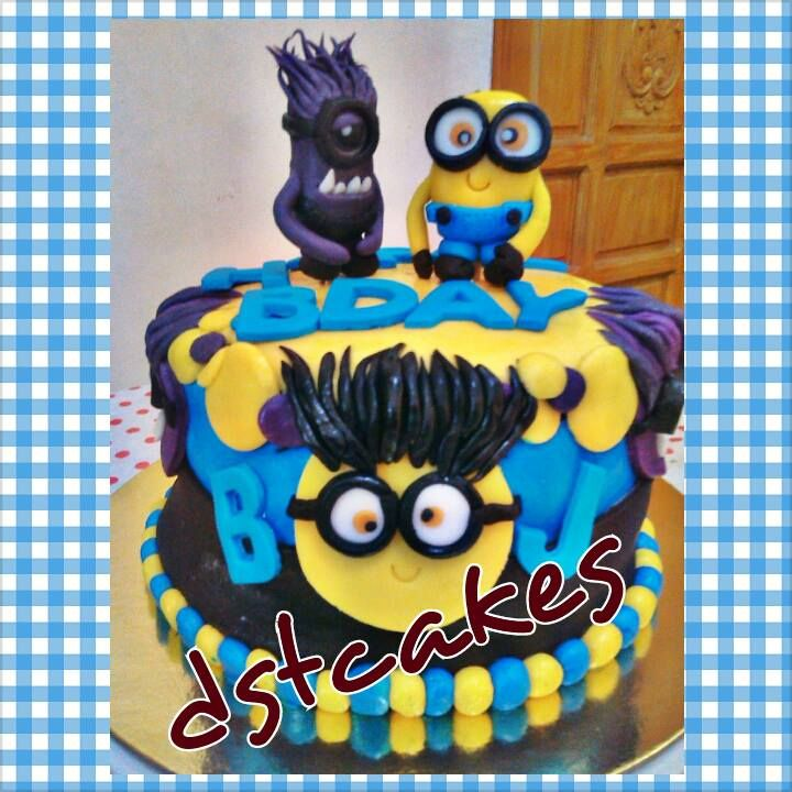 BJS 7th birthday minion themed cake and cupcakes Minions