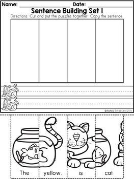 free kindergarten sentence building free kindergarten worksheets sentence building. Black Bedroom Furniture Sets. Home Design Ideas