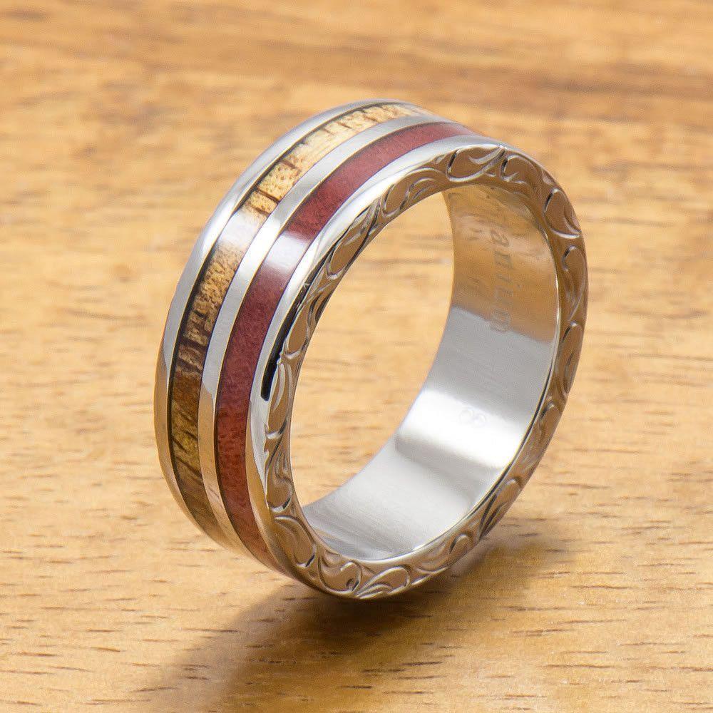 Koa titanium ring with two tone hawaiian koa wood and pink ivory