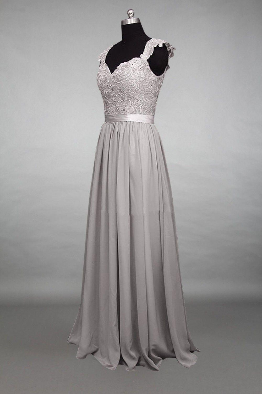 Cap Sleeves Light Grey Lace Chiffon Long Bridesmaid Dress | Lace ...