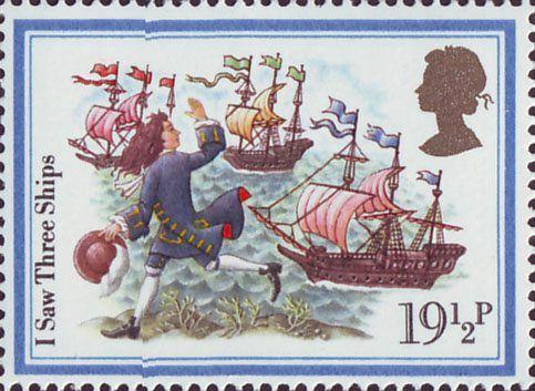 Christmas Carols 19.5p Stamp (1982) 'I Saw Three Ships'