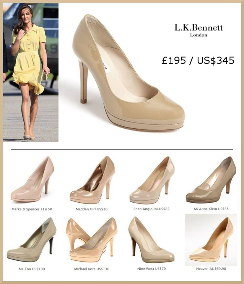 Duchess Kate's favorite go-to shoes by L.K. Bennett. Pictured wearing a  nude pair