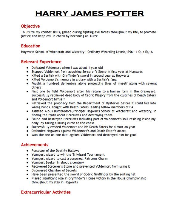 Harry Potteru0027s Resumé To Join The Aurors Harry potter, Harry - extracurricular activities resume