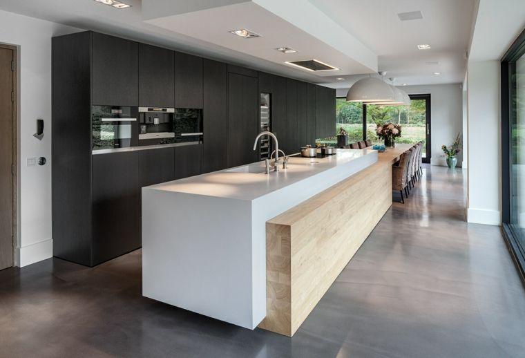 Cocinas con isla 50 ideas de muebles blancos o de madera. | Kitchens ...