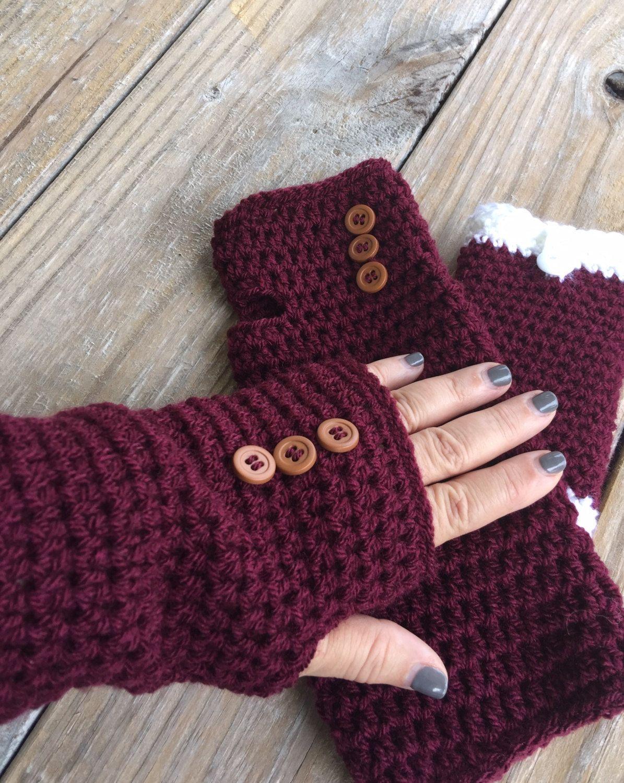 Fingerless gloves edmonton - Hand Crocheted Maroon Texting Gloves Fingerless Gloves Crochet Arm Warmers Super Soft
