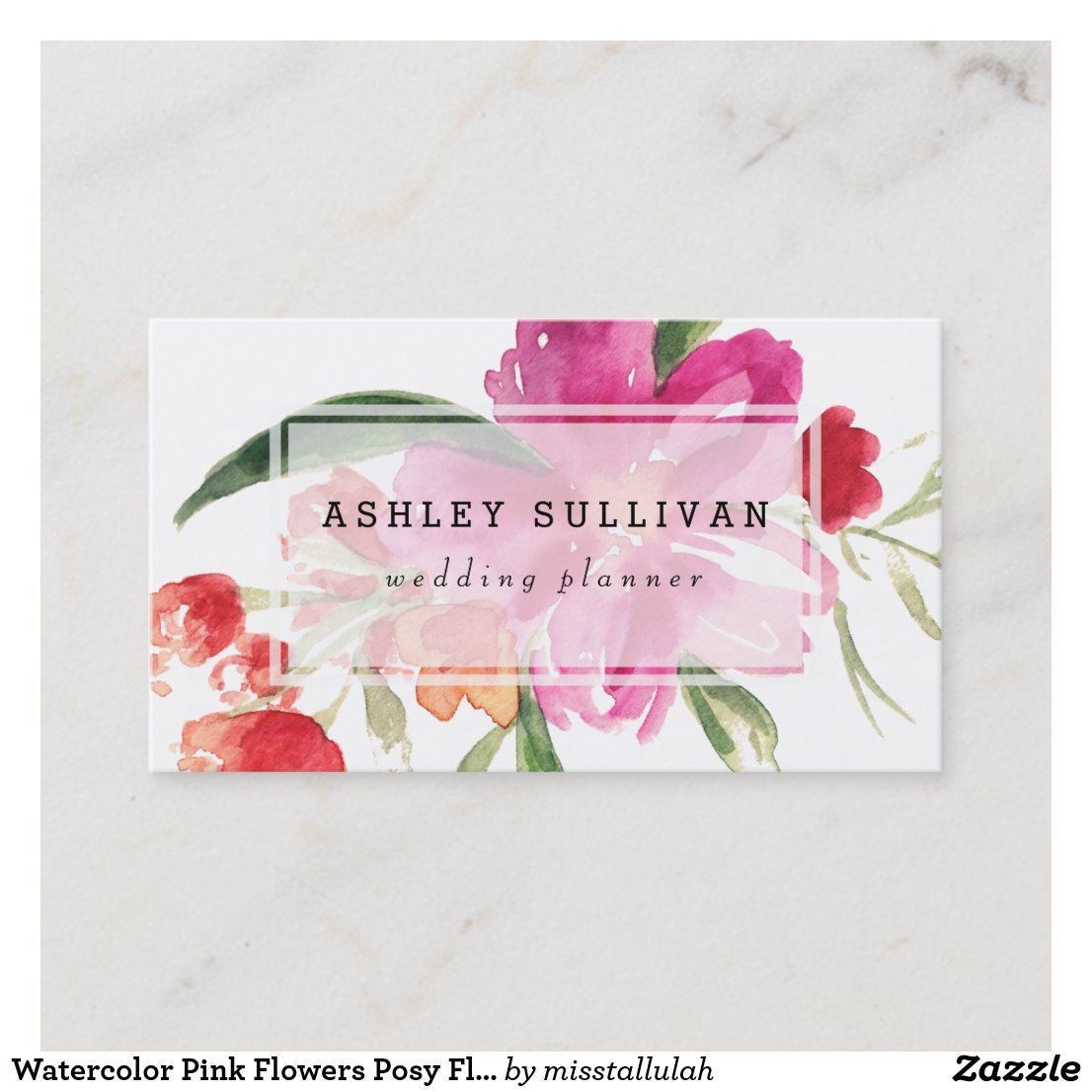 Watercolor Pink Flowers Posy Floral Business Card Zazzle Com Floral Business Cards Pink Watercolor Flower Watercolor Business Cards