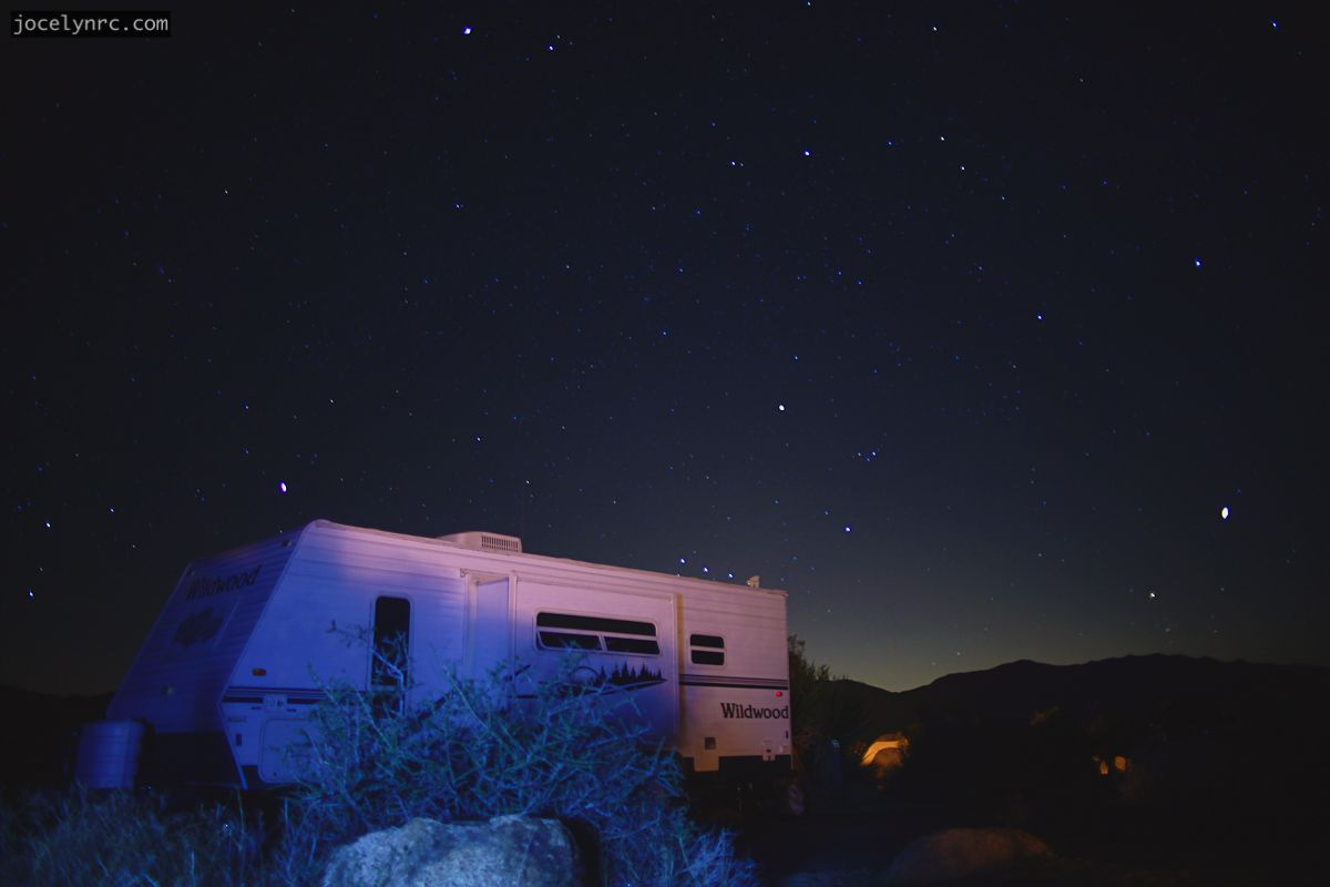 Mobile Home Camping Night Photography Long Exposure Starry Sky Desert Joshua Tree National ParkNational