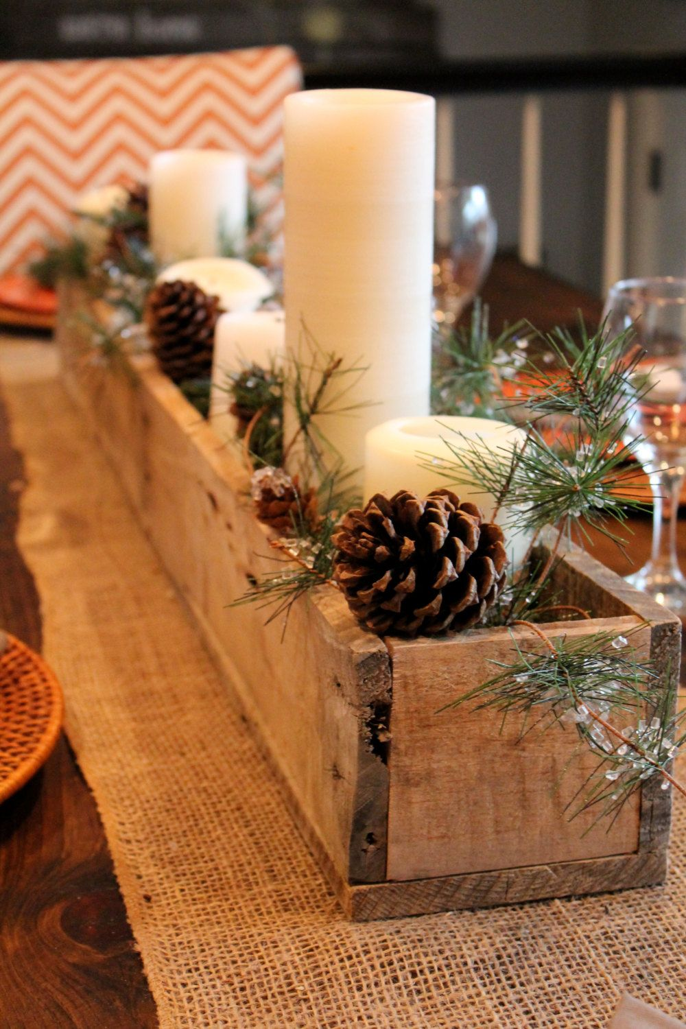 rustic pallet wood centerpiece box by lennyandjennydesigns on etsy love the way its decorated - Wooden Box Christmas Decorations