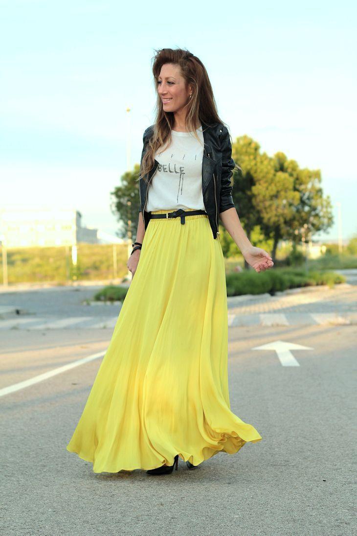 8aa18e06c Yellow Maxi Skirt Top White Tee & Leather Black Jacket | yellows ...