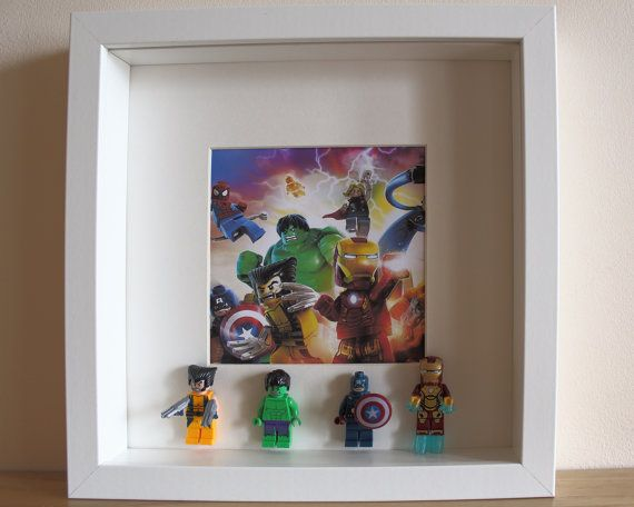 This handmade picture incorporates four fashionable & beautiful Marvel Avengers Superhero Minifigures. This framed artwork is hand crafted